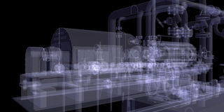 Industrial equipment. X-Ray render Stock Image
