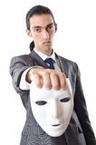 Industrial espionage concept - masked businessman Royalty Free Stock Images