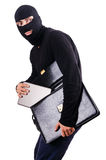 Industrial espionage. Concept with person in balaclava Royalty Free Stock Images