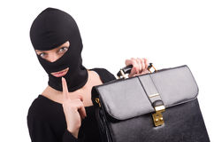 Industrial espionage concept. With person in balaclava Royalty Free Stock Photo