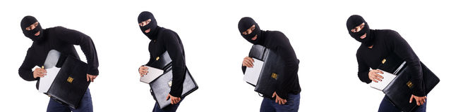 The industrial espionage concept with person in balaclava Royalty Free Stock Photography