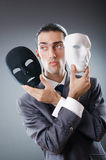 Industrial espionate concept - masked businessman Stock Image