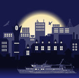 Industrial European vintage styled city, travel boat and seagulls on bright blue sunset background Stock Photo