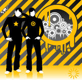 Industrial Expo. Industrial explosion! Modern design illustration with speakers blowing out tunes Stock Images