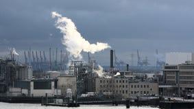 Industrial facilities. In harbor of Hamburg stock images