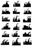 Industrial factories and plants black icons Stock Photography