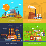 Industrial Factories And Plants Flat Set Stock Photos