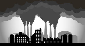 Industrial factories are polluting the environment. Destroying the world`s environment Royalty Free Stock Images