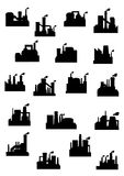 Industrial factories and refineries icon set Stock Photos
