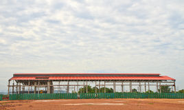 Industrial factory. Construction site at industrial factory royalty free stock photography