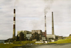 Industrial Factory. Old factory in russia. harmful pollution obsolete technology Stock Images