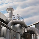 Industrial factory air filtration system. Royalty Free Stock Images