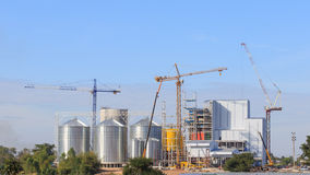 Industrial factory of animal feed storage with blue sky backgrou Stock Images