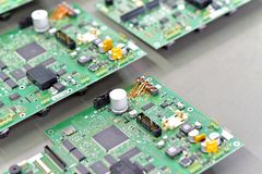 Industrial factory for assembly of microelectronics - detail of stock photo