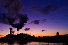 Industrial Factory At Sunrise Stock Photo