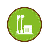 Industrial factory buiding pollution symbol green circle Royalty Free Stock Photo