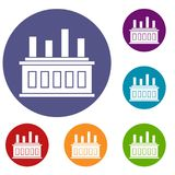 Industrial factory building icons set Royalty Free Stock Photography