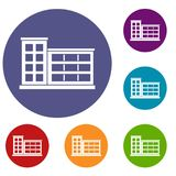 Industrial factory building icons set Royalty Free Stock Image