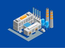 Industrial Factory Building Isometric View. Vector. Industrial Factory Building and Pipe or Tower Isometric View Architecture Modern Exterior Facade for Web and royalty free illustration