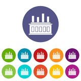 Industrial factory building set icons Stock Photos
