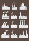 Industrial Factory Building Vector Icon Set. Vector illustration of different design industrial factory with smoking chimney Royalty Free Stock Images