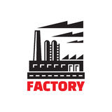 Industrial factory building - vector sign illustration. Royalty Free Stock Images
