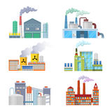 Industrial Factory Buildings Architectural Set Royalty Free Stock Images