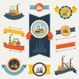 Industrial factory buildings banners, ribbons and Royalty Free Stock Image