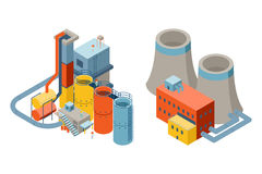 Industrial factory buildings, 3d isometric flat royalty free illustration