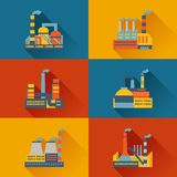 Industrial factory buildings in flat design style Royalty Free Stock Images