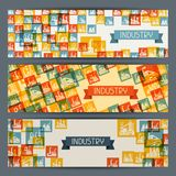 Industrial factory buildings horizontal banners Stock Photos