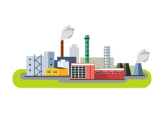 Industrial factory buildings icon. Factory Landscape. Vector flat illustration Stock Photography