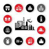 Industrial factory and buildings icon set Royalty Free Stock Images