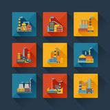 Industrial factory buildings icons set in flat Royalty Free Stock Image