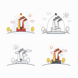 Industrial factory buildings icons Stock Photo
