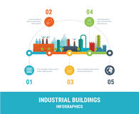 Industrial factory buildings illustration. Timeline infographic elements flat design Royalty Free Stock Photography
