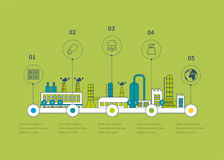 Industrial factory buildings illustration. Timeline infographic elements flat design.  Thin line icons Royalty Free Stock Photo