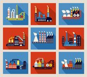 Industrial factory buildings and refineries. Set of colourful vector industrial factory buildings and refineries on red and blue backgrounds with long shadows Stock Photos