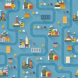 Industrial factory buildings seamless pattern Royalty Free Stock Photography