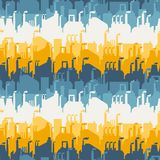 Industrial factory buildings seamless pattern Stock Image