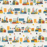 Industrial factory buildings seamless pattern Royalty Free Stock Image