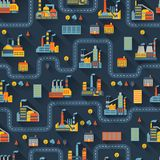 Industrial factory buildings seamless pattern Stock Photography