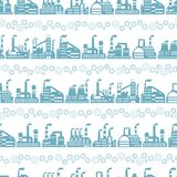 Industrial factory buildings seamless pattern Royalty Free Stock Photos