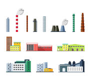 Industrial factory buildings set in flat design style. Royalty Free Stock Image