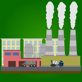 Industrial factory buildings set in flat style Royalty Free Stock Images