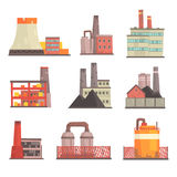 Industrial factory buildings set. Modern power plants, manufacture buildings colorful vector Illustrations. Isolated on white background Royalty Free Stock Photography