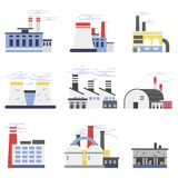 Industrial factory buildings set, power and chemical plant vector illustrations Stock Image