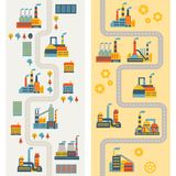 Industrial factory buildings vertical banners royalty free illustration