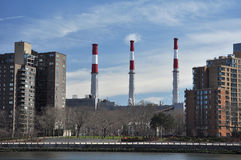 Industrial Factory Chimneys In Queens Stock Image