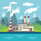 Industrial factory flat ecology vector concept background. Environmental protection Royalty Free Stock Images
